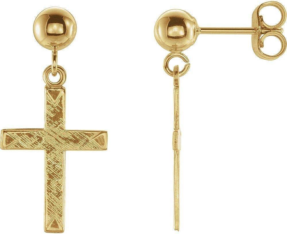 14k Yellow Gold Cross and Ball Earrings