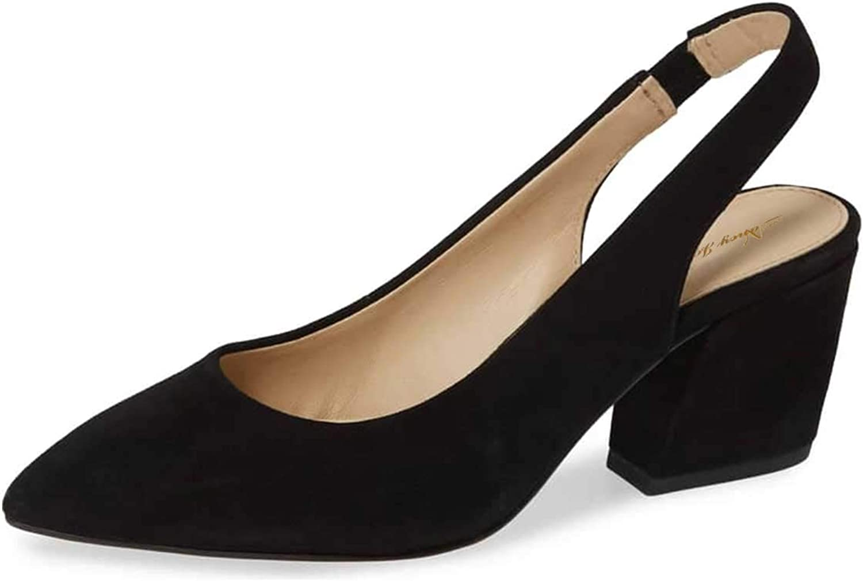 NJ Women Slingback Low Heel Sandals Pointed Toe Slip On Faux Suede Business Office Dress Pumps
