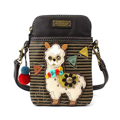 CHALA Crossbody Handy Geldbörse - Damen PU Leder mehrfarbige Handtasche mit verstellbarem Riemen - Lama Olive Stripe
