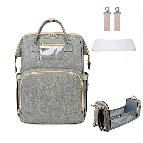 wudimaoyiyouxian SYWD Diaper Bag Backpack with Changing Station,Portable Baby Bed,Travel Bassinet Foldable Baby Crib,Infant Sleeper with Mattress Included (Color : Gray)