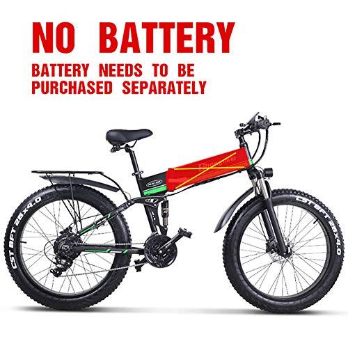 Acptxvh 21 Costi 26 Pollici Bici elettriche, Elettrico Pieghevole per Mountain Bike, Display a LED 350W 48V 10.4Ah cella batterie E-Bike, Donne Uomini Bicicletta elettrica,Verde,No Battery