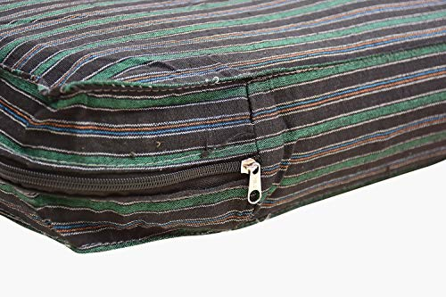 Welcome Online Cotton Mattress Cover with Zip Black and Green Lining (72x30 Inch) (72x30x4)