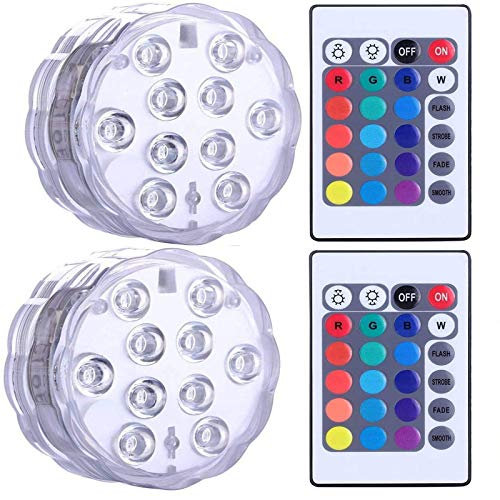 GOESWELL Unterwasser Licht,Poollichter,RGB Farbwechsel Wasserdichte LED Lichter mit RF-Fernbedienung,Stimmungslicht für Vase Base,Weihnachten,Teich,Party, Schwimmbad(2 Stk)