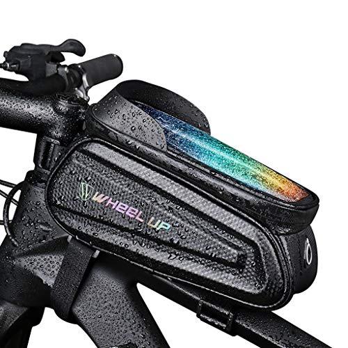 LIEIKIC Fahrrad Rahmentasche Handy Oberrohrtasche Wasserdicht Touchscreen MTB Rahmen Oberrohr Fahrradtasche Handytasche für 6,5 Zoll Smartphone (Schwarz)