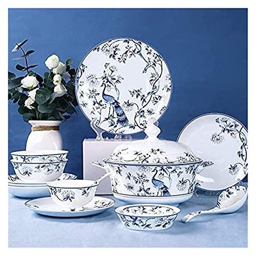 aedouqhr Juegos de vajilla Juego de Platos 56 Piezas de vajilla de Porcelana China de Hueso Juego de Platos de Porcelana Azul y Blanca 6 Personas