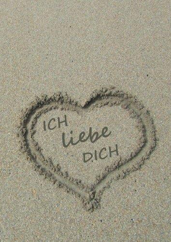 Notizbuch A4 - kariert - Herz im Sand