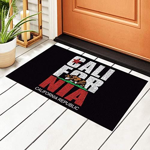 Vanalyn Felpudo de PVC con la bandera de la República de California, para interiores y exteriores, fácil de limpiar, antideslizante, para entrada, 40 x 60 cm