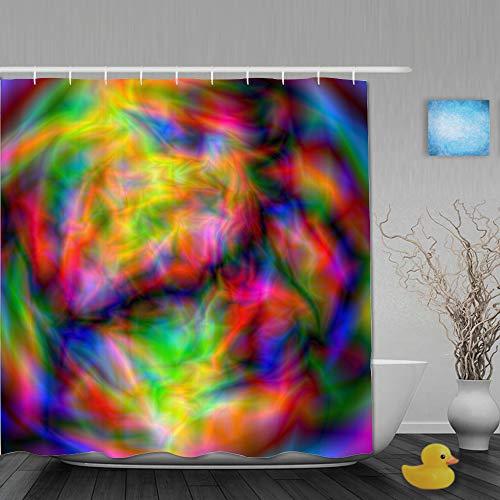 GugeABC Personalisierter Duschvorhang,Glitch Abstract Neon Glow Space Alien Planet Laser Show Rot Gemütlich Dekorativ,wasserabweisender Badvorhang für das Badezimmer 180 x 180 cm