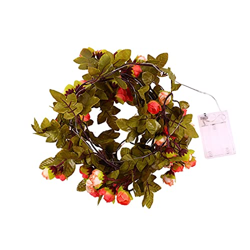 Niazi Guirnalda de luces decorativa de plástico en hojas y flores artificiales con 30 LED para interior y exterior