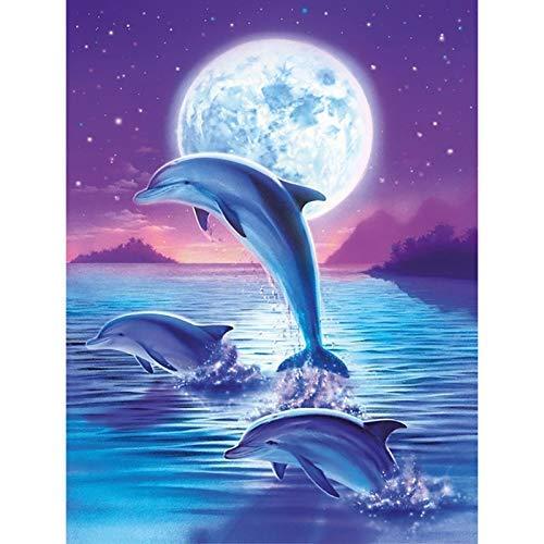 QGHMV DIY Kits de Punto de Cruz Estampado para Principiantes 11ct delfín Bordado de Punto de Aguja Printed Kit de Punto de Cruz para Principiantes decoración del hogar