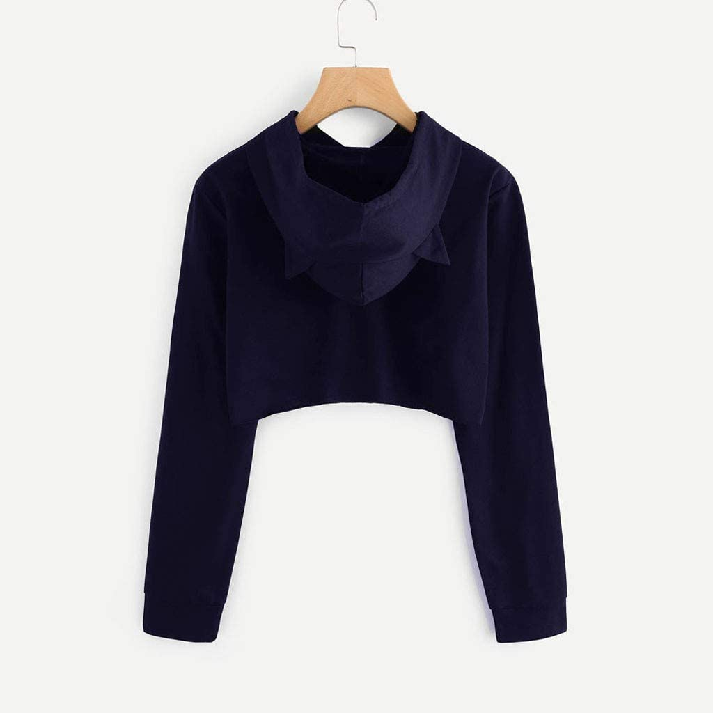 Hoodies for Girls, Misaky Casual 3D Cat Print Long Sleeve Pocket Short Hooded Pullover Sweatshirt Blouse