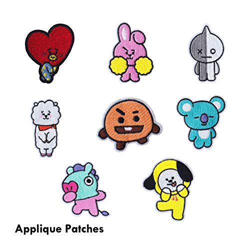 eKoi Kpop BTS Bangtan Boy Cartoon DIY Iron Sew On Fabric Applique Embroidery Patches for Clothes Shirt Jacket Jean Backpack Shoe Hat Decor (8 PC Pack)