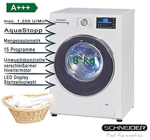 Schneider Waschmaschine SWA8-E1216I ernergiesparender Invertermotor 8kg Startzeitvorwahl AquaStopp 15 Waschprogramme