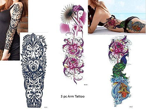 3 Sheet VOLLEN ARM TATTOO SCHWARZ UND BUNT FAKE TATTOO Länge 45cm