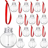 Christmas Booze Balls Christmas Fillable Booze Tree Ornaments Water Bottle Bulbs Shape Plastic Clear Christmas Ornaments Pendant Ball Bell for Home Party Decor Supplies (Silver Lid,12 Pieces)