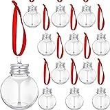12 Bolas de Alcohol de Navidad Adornos Navideños para Árboles de Bebidas Alcohólicas Rellenables Adornos de Plástico Transparente con Forma de Bombillas de Botella de Agua