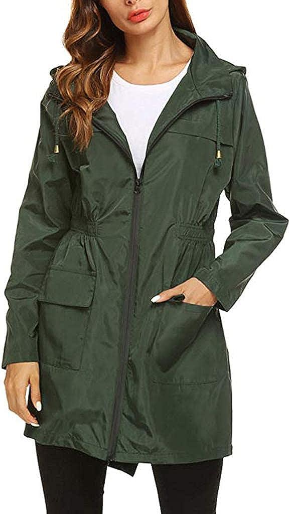 Women's Long Hoodie Raincoat Waterproof Zipper Trench Coats with Pocket Elastic Waist Anorak Utility Jackets