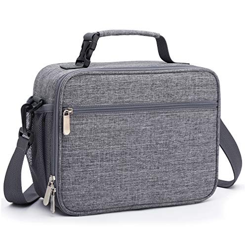 Leak-proof Lunch Bag with Detachable Shoulder Straps, Durable Lunch Box for Office/Fishing/School/Picnic,Tote bag with Detachable Buckle Handle (light gery)