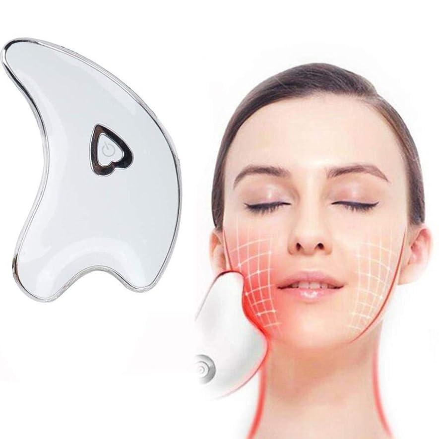 メトリックラショナル安価なフェイシャルスクレーピングマッサージャー、ネックスクレーピングマッサージボード、ダークサークルを防止するためのツールマイクロカレントバイブレーションアンチシワ、薄い顔の引き締め肌の引き締め (Color : White)