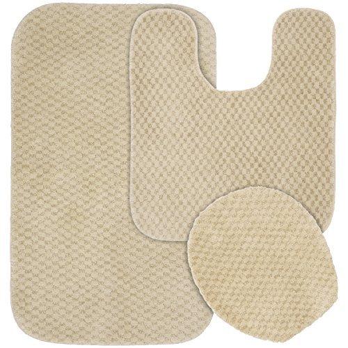 Garland Rug 3-Piece Cabernet Nylon Washable Bathroom Rug Set, Linen by Garland Rug