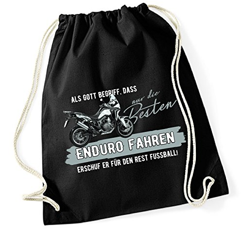 Siviwonder Turnbeutel - GOTT besten ENDURO fahren vintage Bike NO Fußball Motorrad - Baumwoll Tasche Beutel schwarz