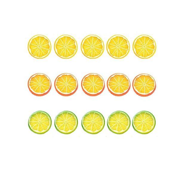 Artlink 15pcs Fake Lemon Slices Decor Plastic Artificial Lemon Slices Simulation Fruit Display- Mix Color