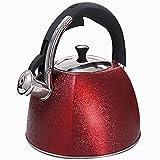 3L Tetera Silbante Tetera clsica de Acero Inoxidable con Mango de Plstico ABS para Todas Las Estufas Rojo M+ / A