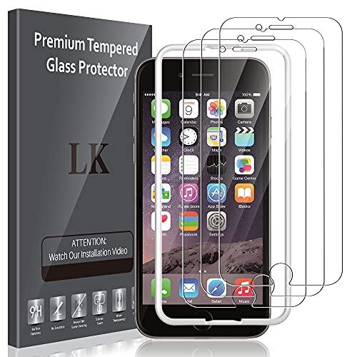 LK Compatibile con iPhone 6 / iPhone 6s Pellicola Protettiva, 3 Pezzi, 9H Durezza Vetro Temperato,Strumento Una Facile Installazione, Protezione Schermo Screen Protector,LK-X-53