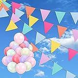 Qpout Banderines De 48 Banderas De 40,8 Pies,Banner Del Festival Con 20 Globos,Banderín Multicolor De Lino Imitado Ideal Para Baby Shower, Interior,Exterior,Jardín,Fiesta,Cumpleaños,Boda,Celebración