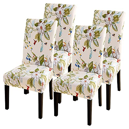 SearchI Dining Room Chair Covers Slipcovers Set of 4, Spandex Super Fit Stretch Removable Washable Kitchen Parsons Chair Covers Protector for Dining Room,Hotel,Ceremony,Beige+Flowers