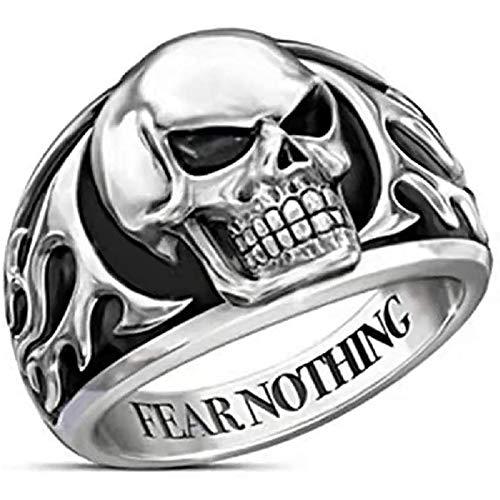 LH&BD Anillo de cráneo para Hombres gótico Demonio Cabeza Anillo Punk Rock tótem Vintage Negro Ojo Hueso Amuleto Hip Hop joyería Vikingo,7