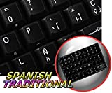 Spanish Traditional New Non-Transparent Keyboard Decals Black Background for Desktop, Laptop and Notebook