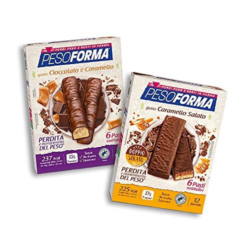 Pesoforma Barrette Caramello Salato, Pasti Sostitutivi Dimagranti, 12 x 31g + Barrette Cioccolato e Caramello, Pasti Sostitutivi Dimagranti, 12 x 31g