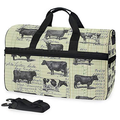 Echte Vintage Ledger Papier Kuh Studie aus dem 19. Jahrhundert Dekor Rinderfarm Tier große Reisetasche Einkaufstasche Wochenende Übernachtung Reisetasche Sporttasche Fitness Sporttasche mit Schuhfach