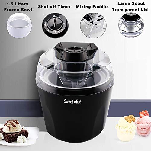 Ice Cream Maker, 1.5 Quart Automatic Frozen Yogurt, Sorbet, and Ice Cream Machine, Auto Shut-off Timer Function BPA-free Frozen Dessert Machine