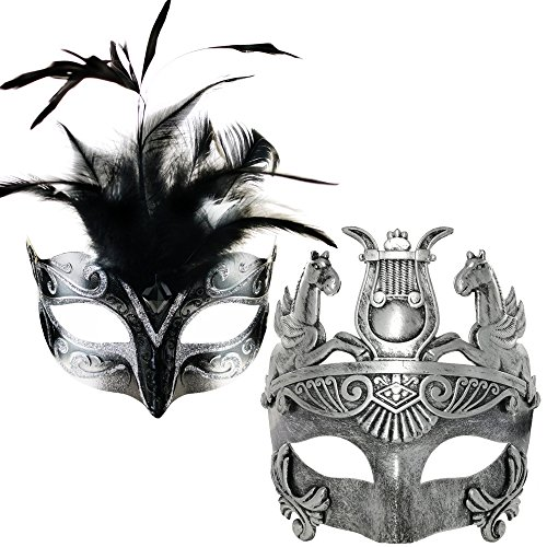 New Silver/Black Feather Women Mask & Silver Roman Warrior Men Mask Venetian Couple Masks for Masquerade/Party/Ball Prom/Mardi Gras/Wedding/Wall Decoration(Elastic Band)