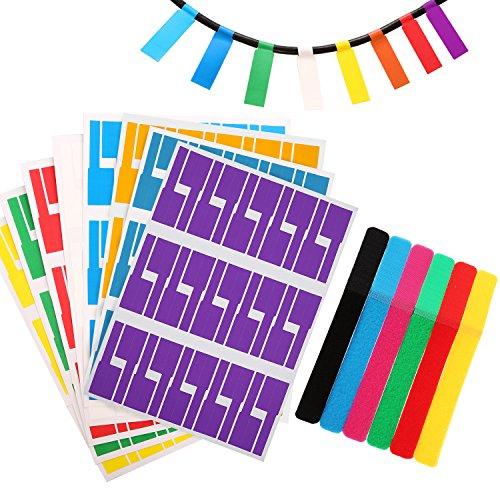 Etiquetas de cables totalmente autoadhesivas Etiquetas de cables a prueba de agua Marcador resistente al desgarro y 12 piezas de gancho reutilizable y lazos de cable de lazo Correas, 8 colores (240)