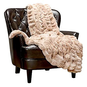 Chanasya Ruched Luxurious Soft Faux Fur Throw Blanket - Fuzzy Plush and Elegant with Reversible Mink Blanket for Sofa Chair Couch Living Room Birthday Gift and Home Decor  50x65 Inches  Beige