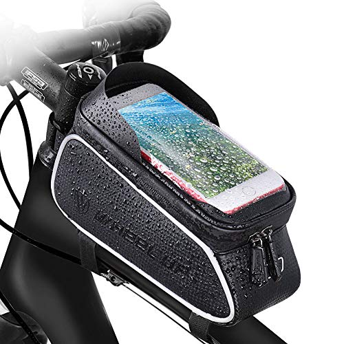 LLQ Bike Frame Bags, Waterproof Bicycle Bag, Large Capacity and Touch Screen Bike Phone Bag for Smartphones Under 6 Inches
