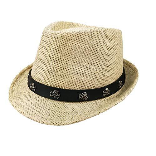 IFMASNN Outdoor, Mode, Trend, hohe Qualität,Stroh Sonnenhut Panama Strohhut SommerhutPirat - weiß