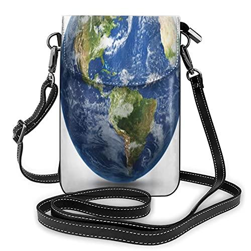 ADONINELP Sac de téléphone en Cuir Sac à bandoulière Planète Terre Image de l'espace Satellite Petit Sac à bandoulière Sac à Main pour téléphone Portable Portefeuille Sacs à Main Sac à bandoulière Sa