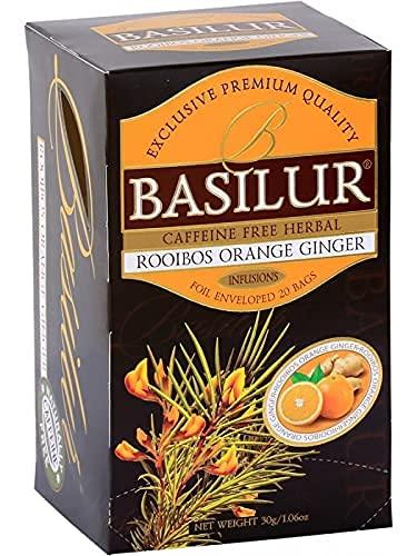 Basilur Té de hierbas Rooibos de jengibre naranja sin cafeína (1,5 g x 20 bolsitas de té) 30 g - Una taza llena de alma con el sabor picante de la naranja y el jengibre