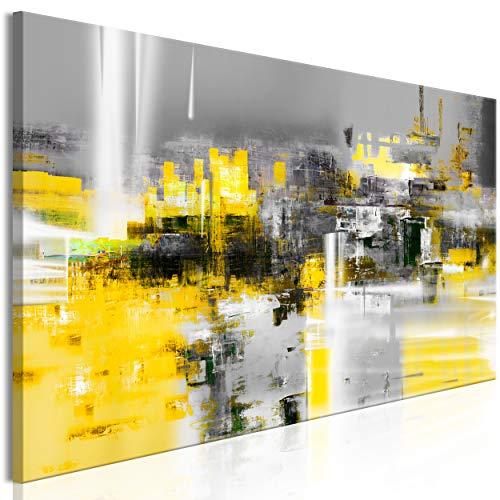decomonkey Bilder Abstrakt 150x50 cm 1 Teilig Leinwandbilder Bild auf Leinwand Vlies Wandbild Kunstdruck Wanddeko Wand Wohnzimmer Wanddekoration Deko Modern grau gelb