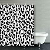 KONGRONG Custom Black and White Leopard Print Animal Accent Shower Curtain 66x72 inches