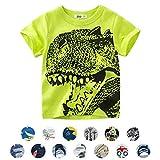 Magliette per Bambino Animale del Shirt Dinosauro/Squalo/Auto Fumetto Modello Manica Corta Estate Top (6-7 Anni, A- Verde)