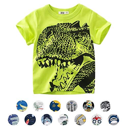 Unisexe Petits Enfants T-Shirts à Manches Courtes Cartoon Animal Imprimé Dinosaure/Requin/Voiture Été Casual Chemisier (6-7 Ans, A- Vert)
