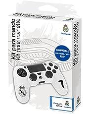 Real Madrid Nr. 7 Controller-accessoireset voor PS4-controller met siliconen hoes, zweetabsorberend, met handgrepen, voor joystick-controller, wit