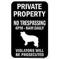 PRIVATE PROPERTY ブラックマグネットサイン:ボーダーコリー シルエット 英語 私有地 無断立入禁止