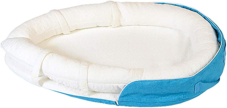 HUYP Baby Sleep Nest Pod Travel Mattress Crib Foldable Bionic Bed Fashion Floor Mat 0-10 Months (color   bluee)