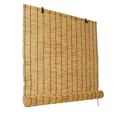 GLZM Natural Reed Curtain, Bamboo Roll Up Shades Roman Blinds, Vertical Lift Decoration, Anti-UV, Hand-Woven, for Outdoor/Indoor